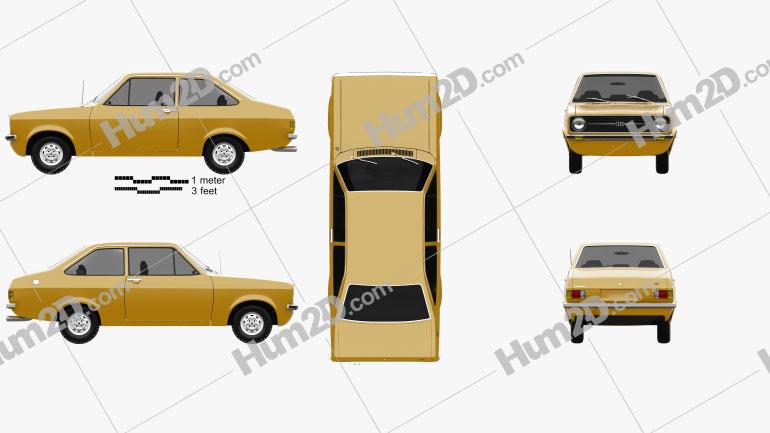 Ford Escort (EU) 1975 Clipart Image