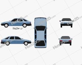 Ford Sierra hatchback 5-door 1984 car clipart