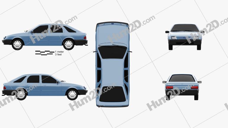 Ford Sierra hatchback de 5 portas 1984 car clipart