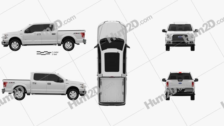 Ford F-150 Super Crew Cab XLT 2014 car clipart