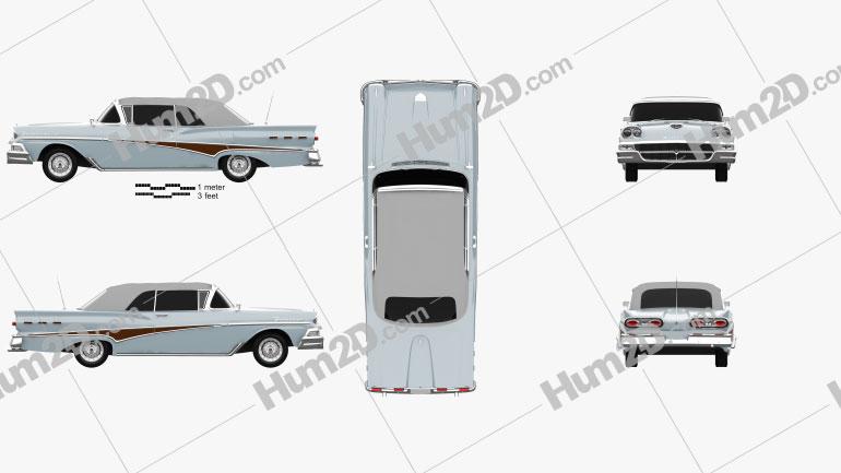 Ford Fairlane 500 Sunliner 1958 car clipart