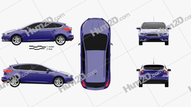 Ford Focus hatchback 2014 car clipart