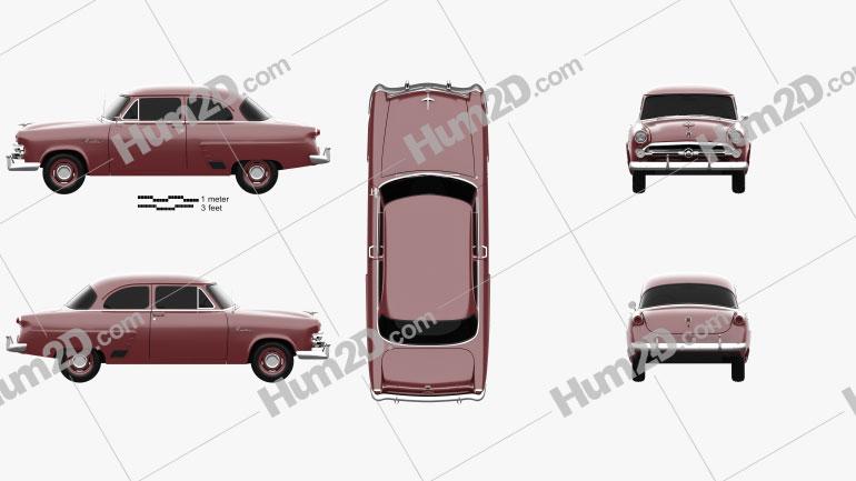 Ford Mainline (70A) Tudor Sedan 1952 car clipart