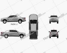 Ford Ranger Double Cab 2015 car clipart