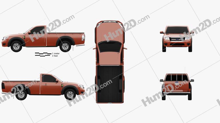 Ford Ranger Regular Cab 2009 Clipart Image