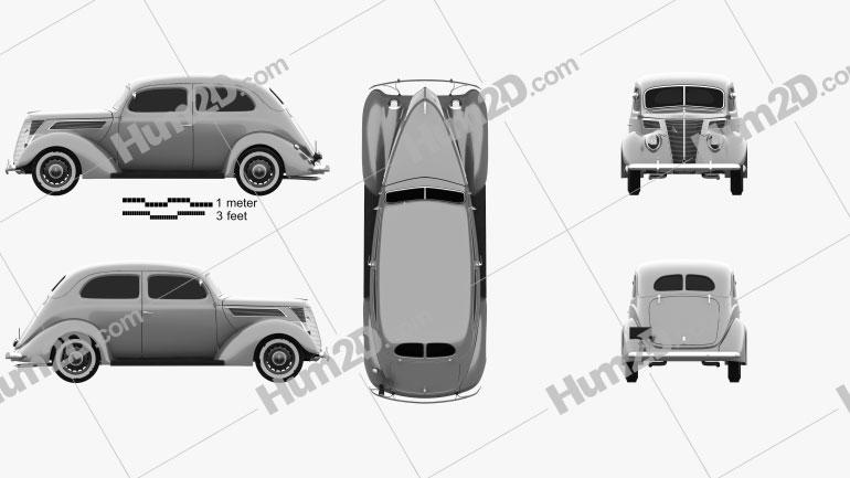 Ford V8 Model 78 Standard (78-700A) Tudor Sedan 1937 car clipart