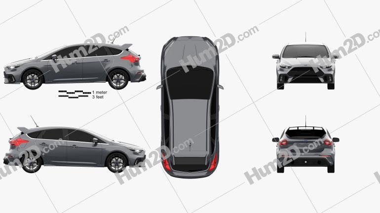 Ford Focus hatchback RS 2014 car clipart