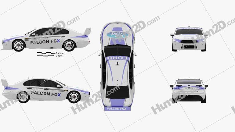 Ford Falcon (FG) V8 Supercars 2015 Clipart Image
