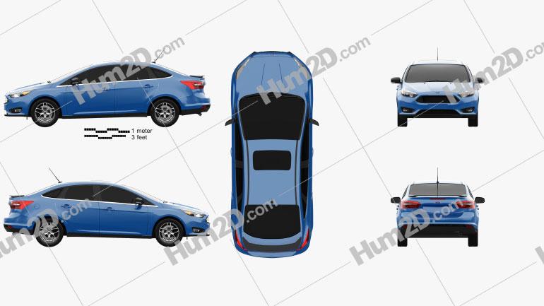 Ford Focus sedan 2014 Clipart Image