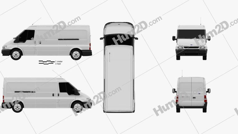 Ford Transit Panel Van 2000 Clipart Image