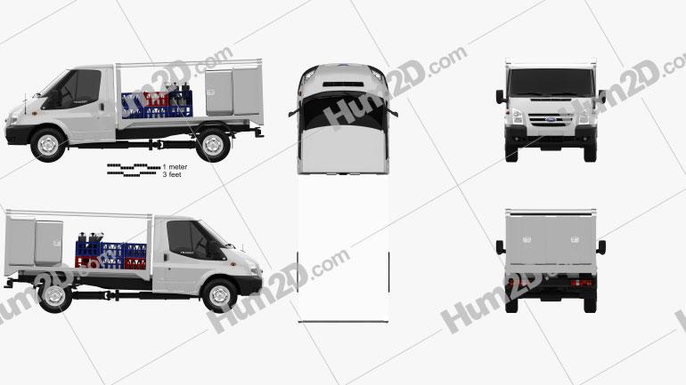 Ford Transit Milk Float Truck 2012 Clipart Image