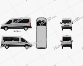 Ford Transit Minibus 2014 clipart