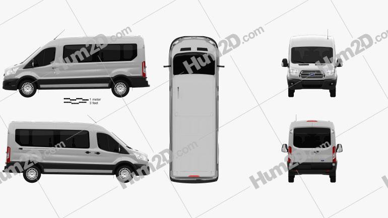 Ford Transit Minibus 2014 Clipart Image