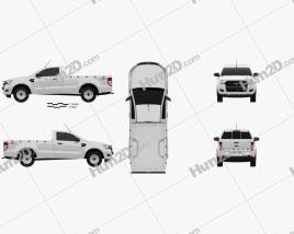 Ford Ranger Single Cab XL 2015 car clipart