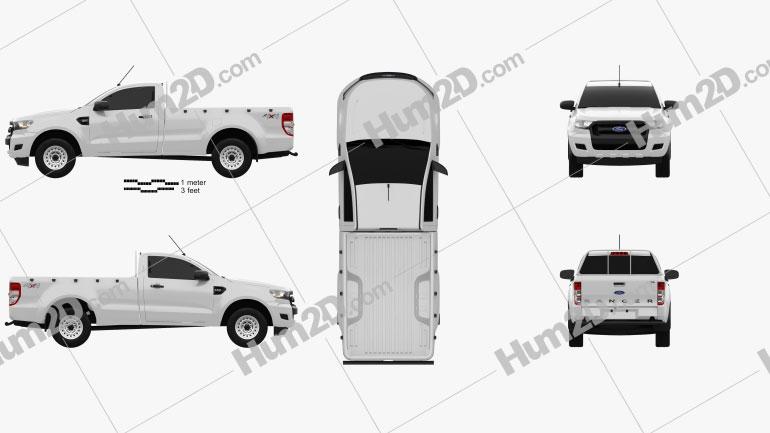 Ford Ranger Einzelkabine XL 2015 car clipart