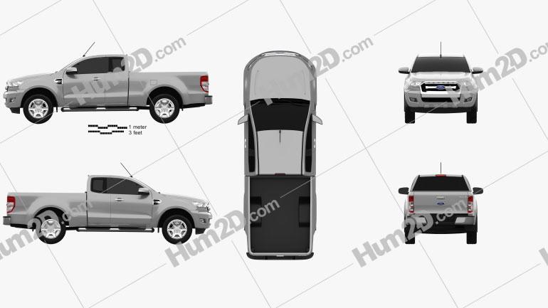 Ford Ranger Super Cab XLT 2015 car clipart
