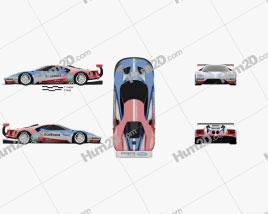 Ford GT Le Mans Race Car 2016 car clipart