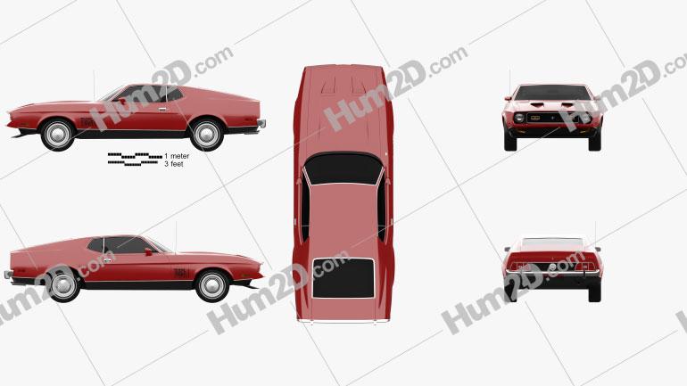 Ford Mustang Mach 1 1971 James Bond car clipart