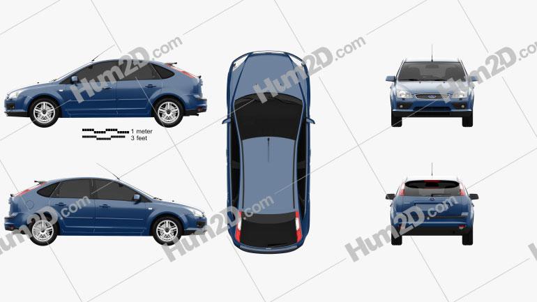 Ford Focus 5-door hatchback 2004 car clipart