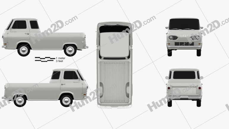 Ford E-Series Econoline Pickup 1963 Clipart Image