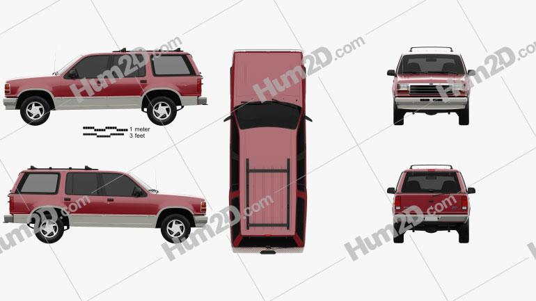 Ford Explorer 1990 car clipart