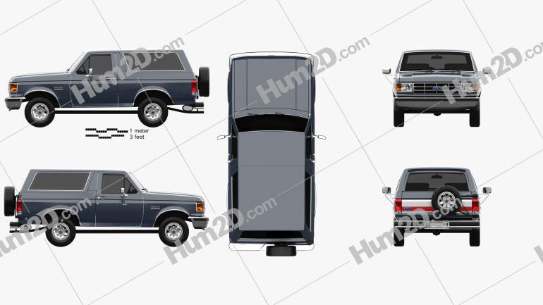 Ford Bronco 1989 car clipart