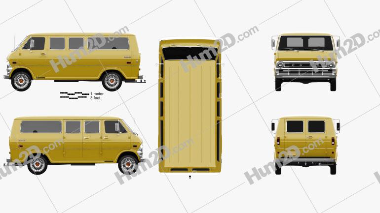 Ford E-Series Econoline Club Wagon 1971 Clipart Image