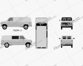 Ford E-Series Econoline Cargo Van 1986 clipart