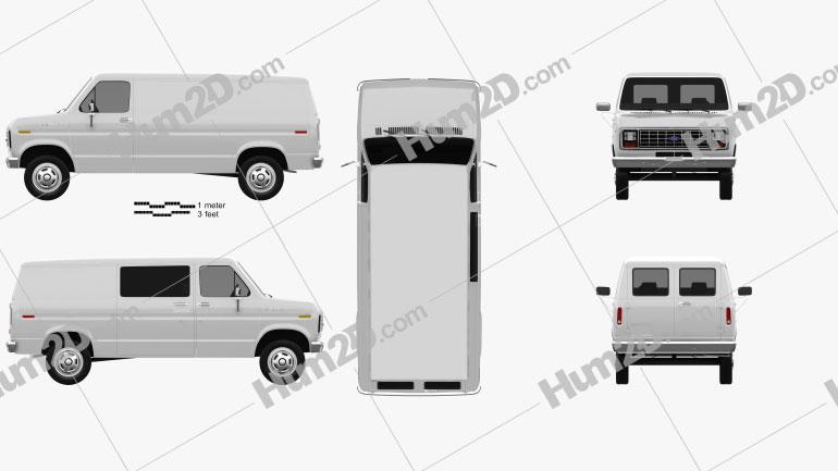 Ford E-Series Econoline Cargo Van 1986 Clipart Bild
