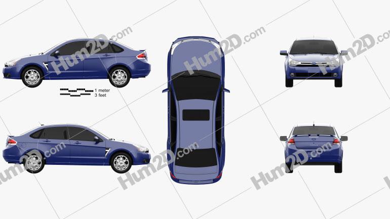Ford Focus SES (US) sedan 2007 car clipart