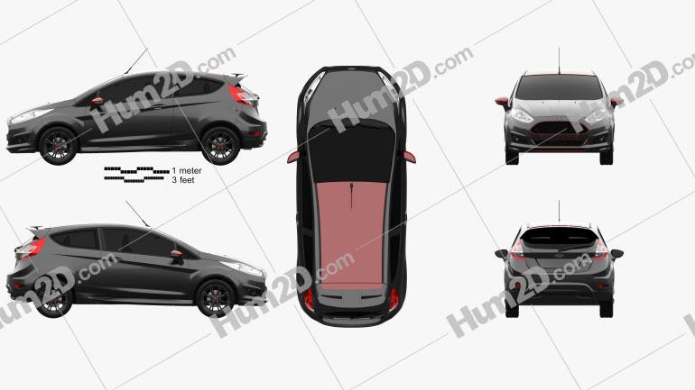 Ford Fiesta Zetec S Black Edition 2014 Clipart Image