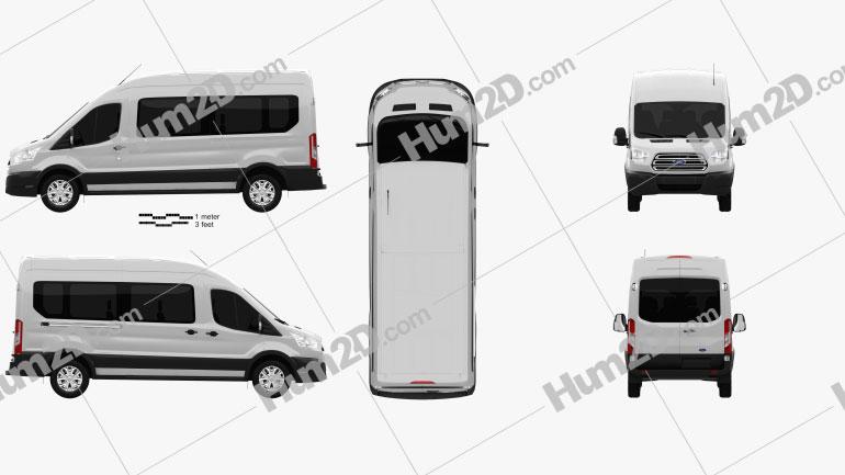 Ford Transit Passenger Van L2H3 2012 clipart