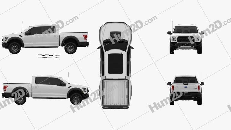 Ford F-150 Super Crew Cab Raptor 2016 Clipart Image