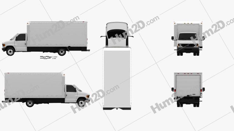Ford E350 Box Truck 1993 Clipart Image
