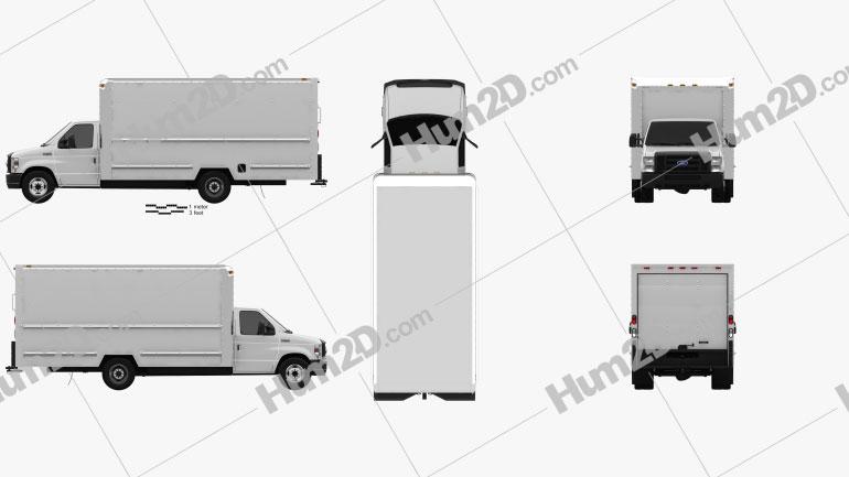 Ford E-350 Box Truck 2016 Clipart Image