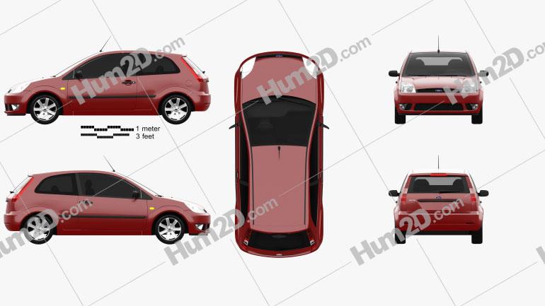 Ford Fiesta hatchback 3-door 2002 car clipart