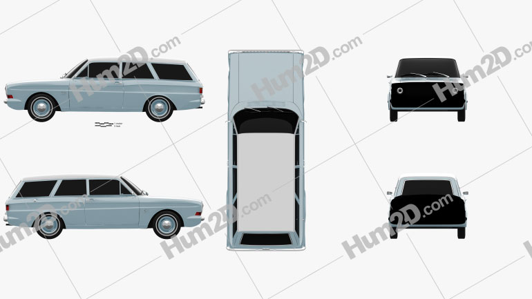 Ford Taunus (P6) 12M station wagon 1967 Clipart Image