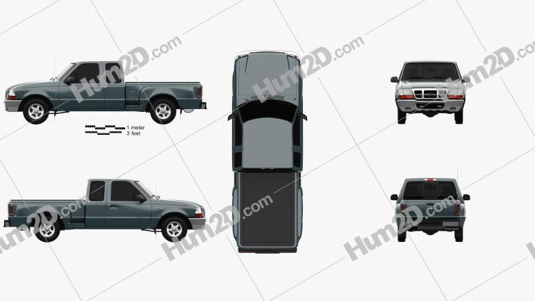 Ford Ranger (NA) Extended Cab Flare Side XLT 1998 Clipart Image