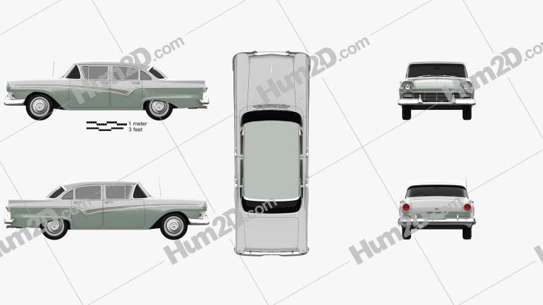 Ford Custom 300 Fordor sedan 1957 Clipart Image