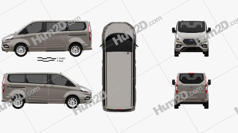 Ford Tourneo Custom L1 2017 Clipart Image