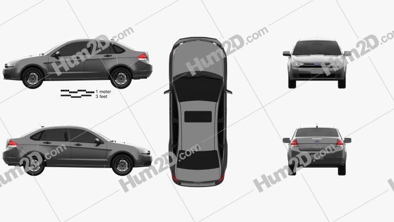 Ford Focus SE US-spec sedan 2007 car clipart