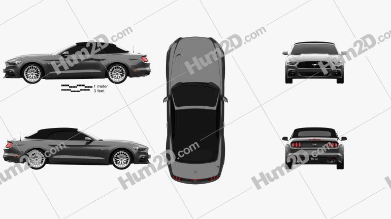 Ford Mustang GT EU-spec convertible 2015 car clipart