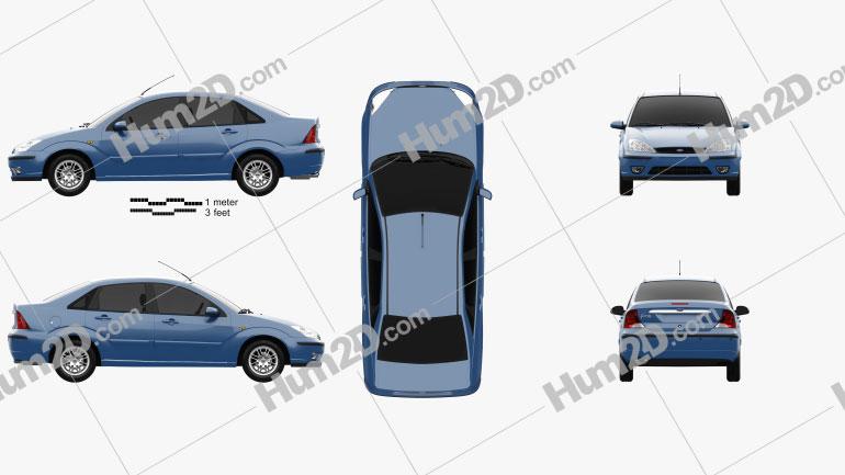 Ford Focus sedan 2002 car clipart