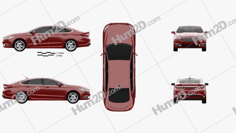 Ford Fusion Titanium 2017 Clipart Image