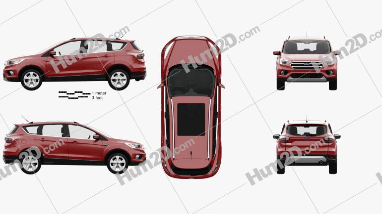 Ford Kuga Titanium with HQ interior 2017 car clipart