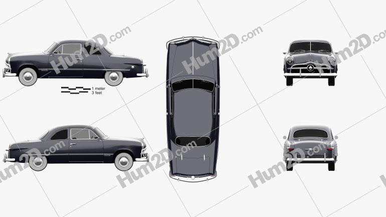 Ford Custom Club Coupe 1949 car clipart
