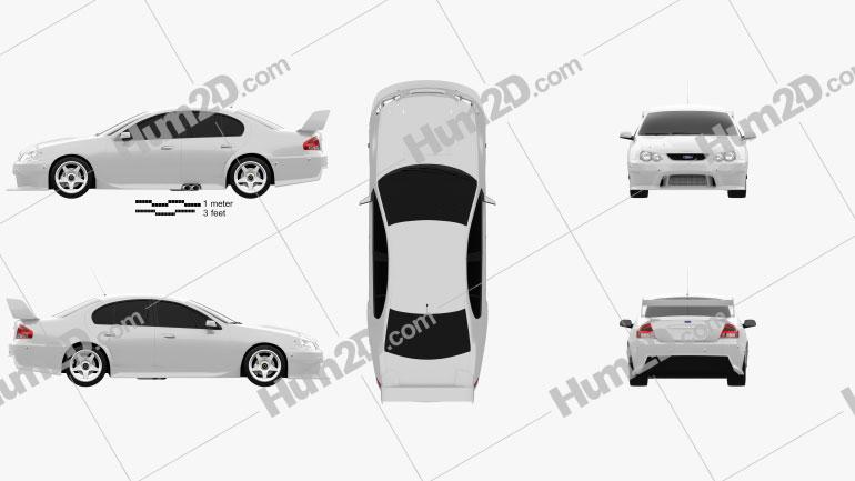 Ford Falcon V8 Supercars 2009 White car clipart