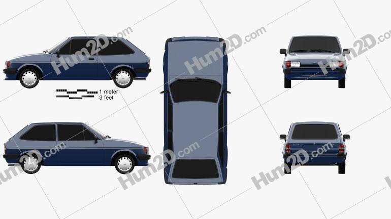 Ford Fiesta 3-door 1983 Clipart Image