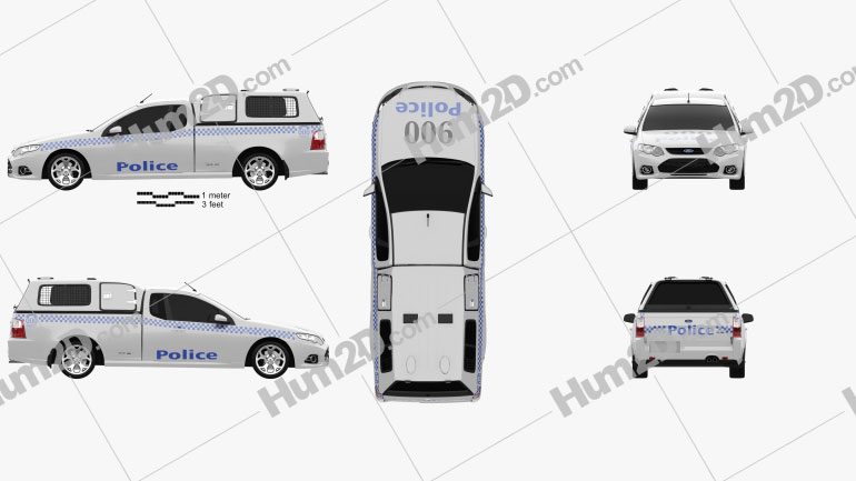 Ford Falcon UTE XR6 Police 2011 car clipart