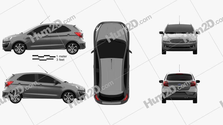 Ford Ka plus Ultimate hatchback 2019 car clipart